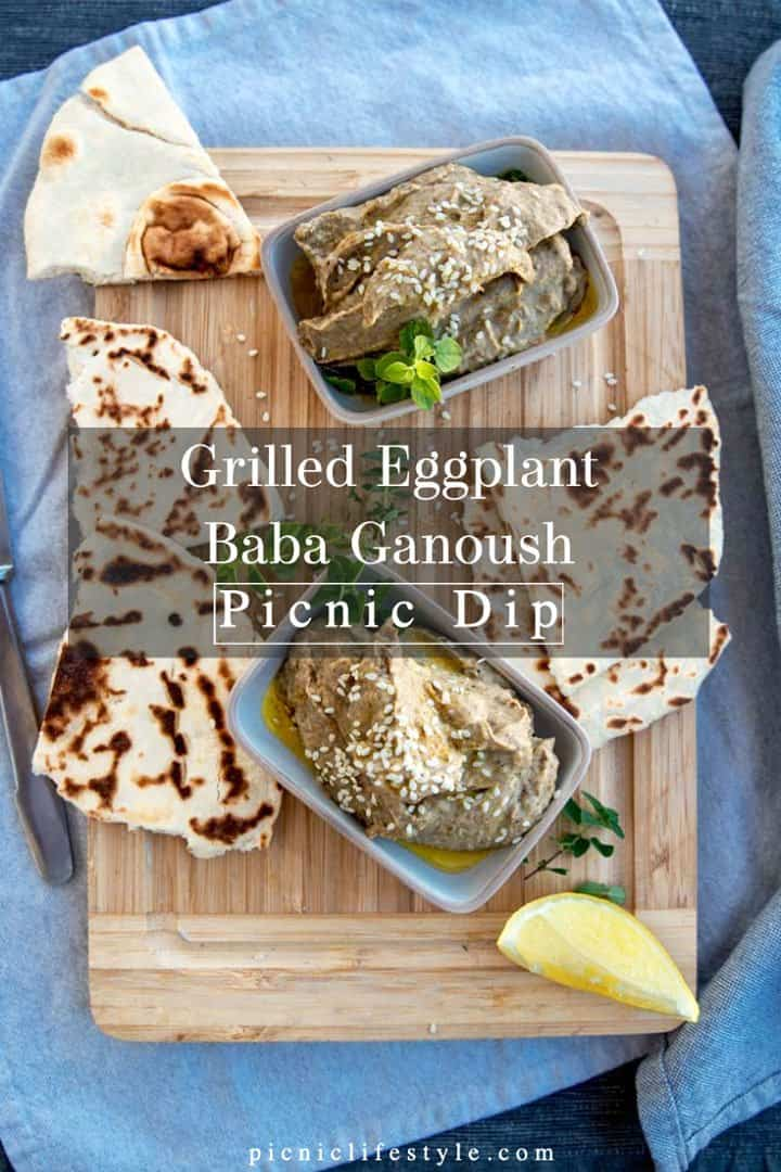 Pinterest graphic of baba ganoush dip with flat breads and text overlay
