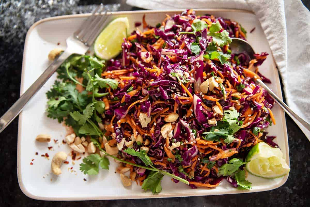 Overhead shot of colourful Asian coleslaw.