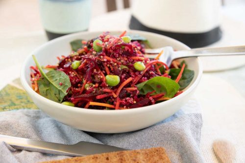 Bowl of beetroot and quinoa salad.