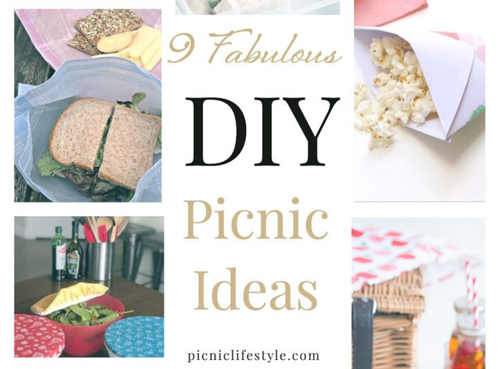 """Collage of picnic DIY ideas with text overlay - """"9 crafty Picnic DIY Ideas"""""""