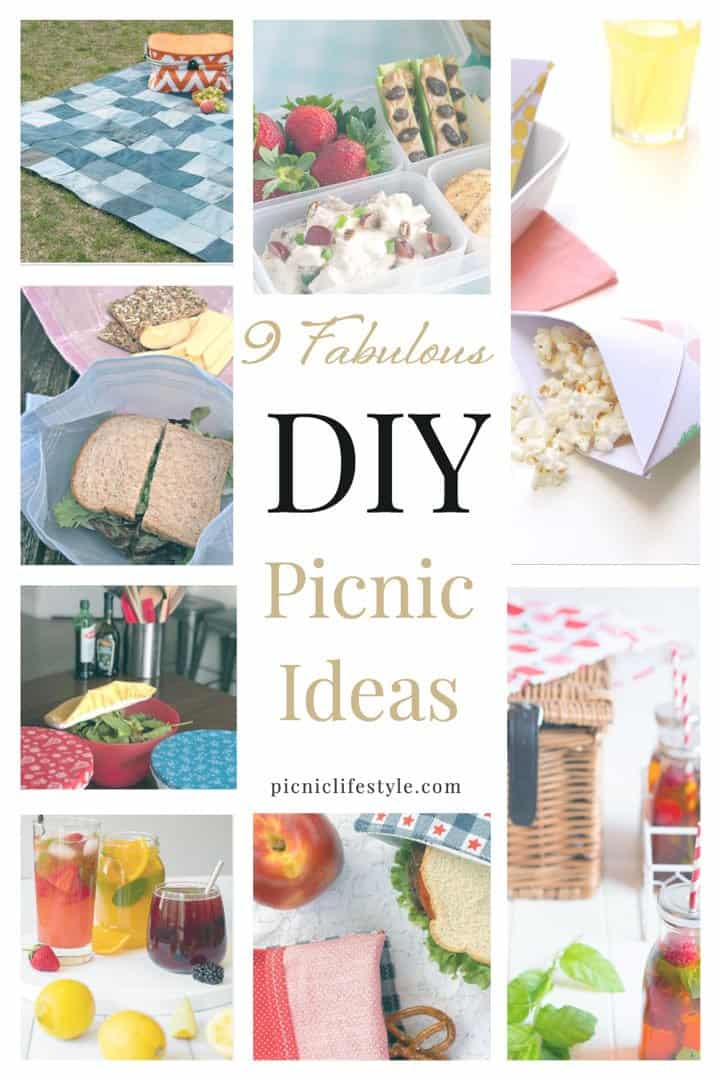"Collage of picnic DIY ideas with text overlay - ""9 crafty Picnic DIY Ideas"""