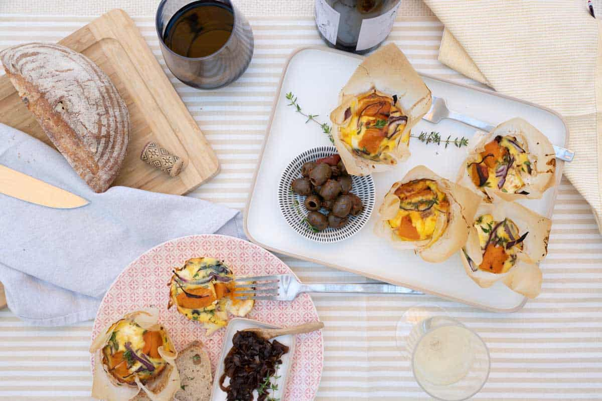 Romantic looking picnic with mini fritatta's.