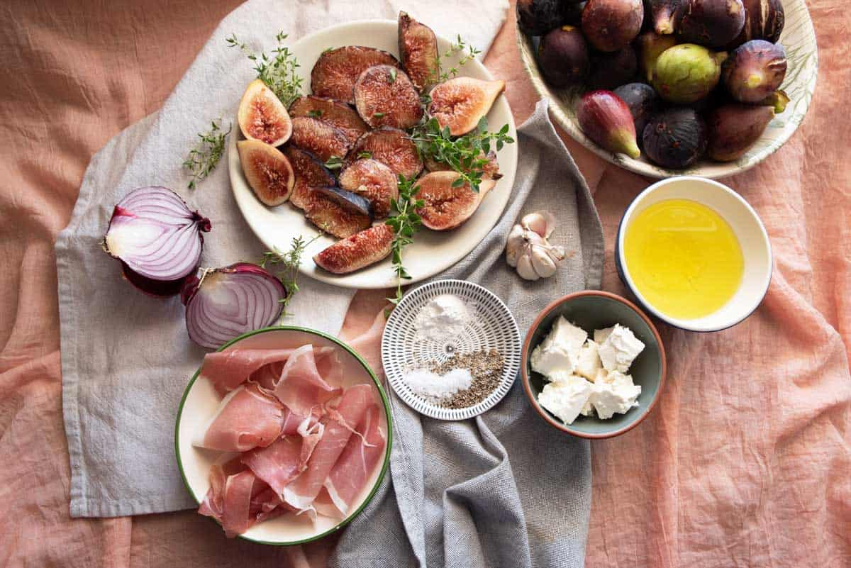 Ingredients laid out for fig and focaccia bread.