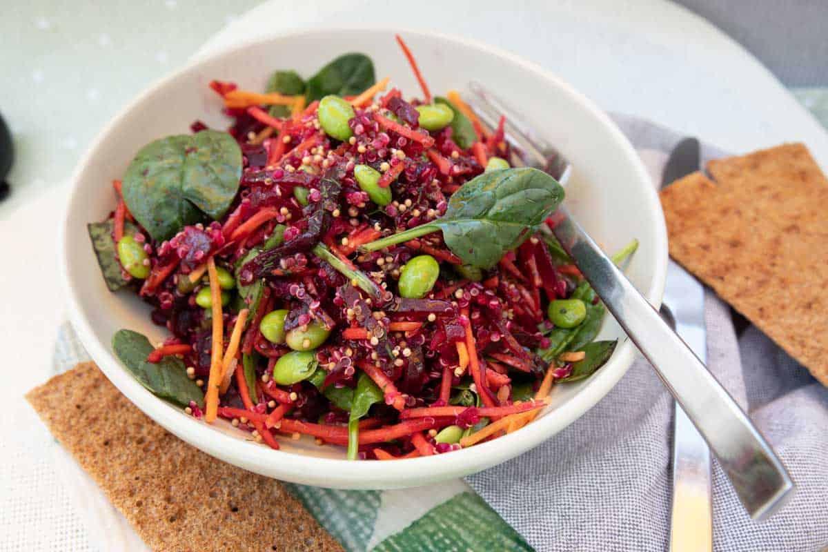Bowl of shredded beetroot salad.