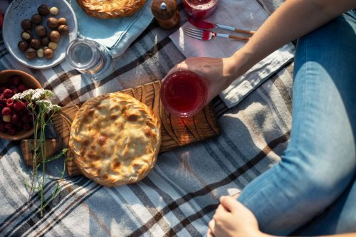 Fall picnic scene with a pie on a check blanket and cranberry juice.
