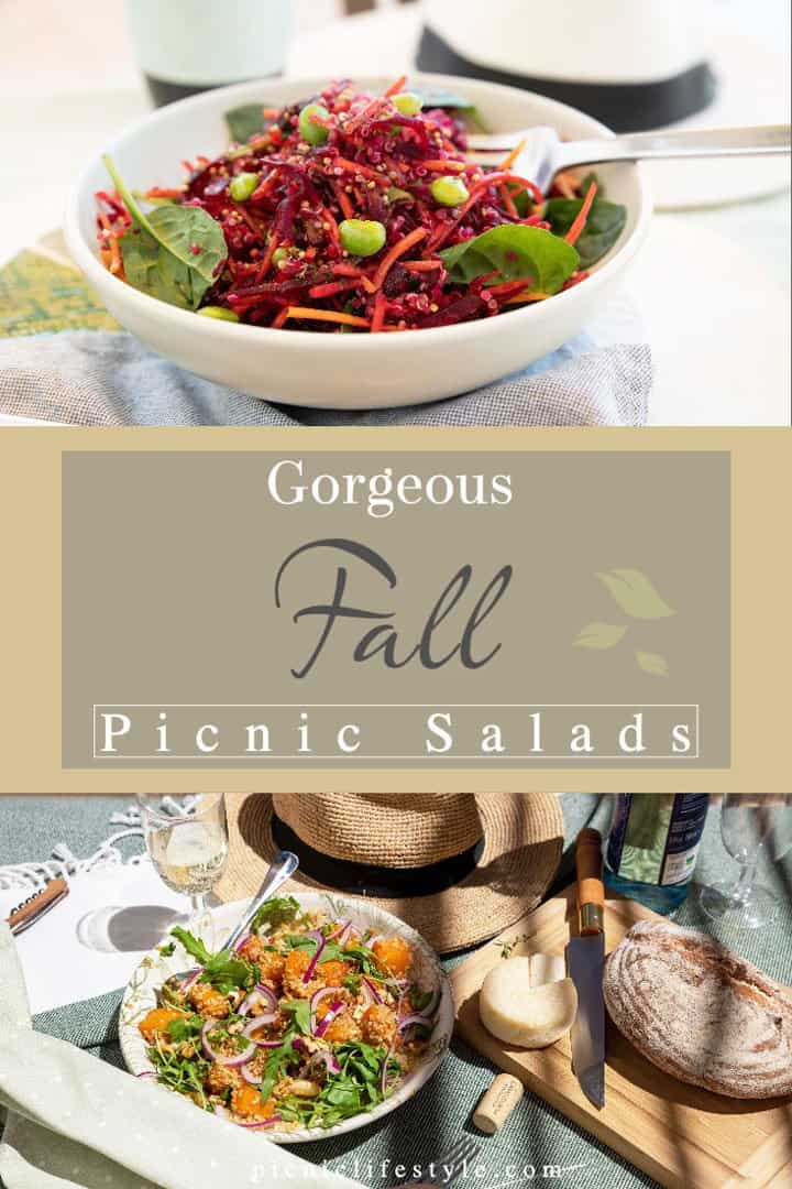 """graphic with pictures of two vibrant salads with text overlay - """" Gorgeous Fall Picnic Salads""""."""