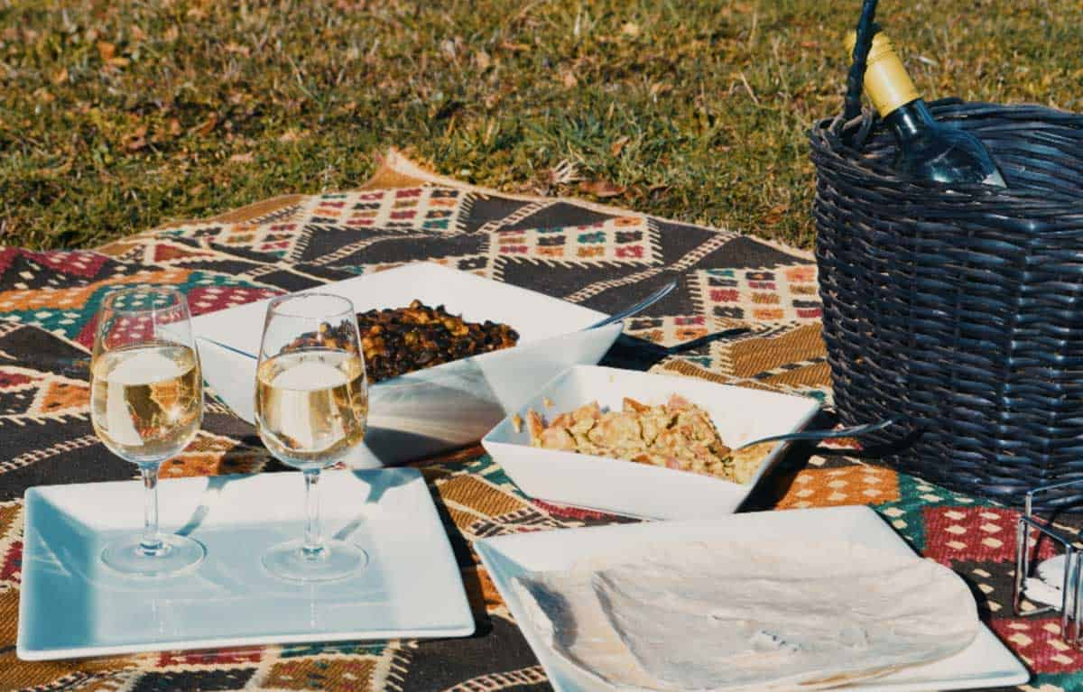 Picnic scene with blanket with picnic basket, wine and salad bowls.