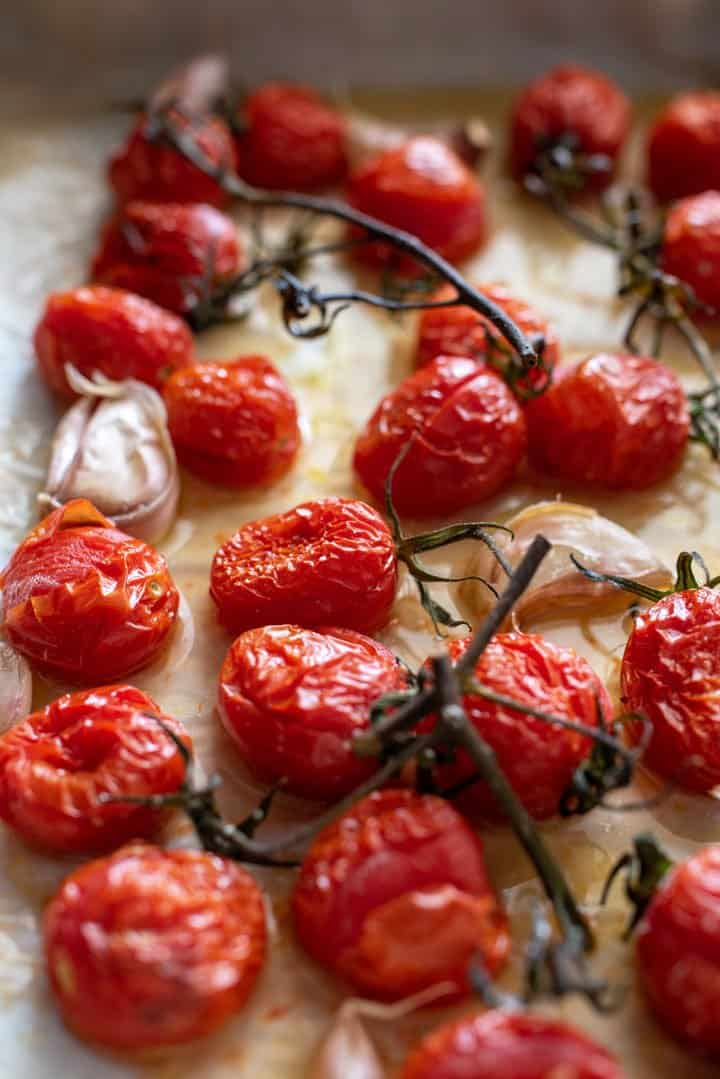 Roasted vine tomatoes straight out of the oven.