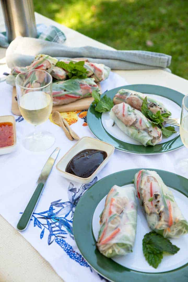 Asian style picnic of smoked duck spring rolls.