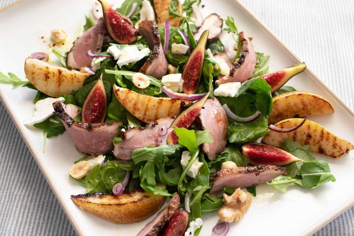 Smoked duck and grilled pear salad with fig.