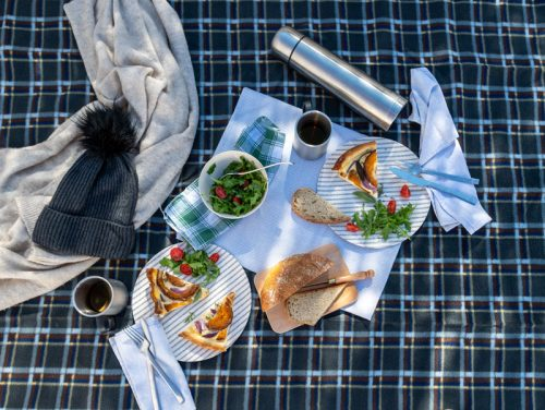 Check picnic blanket laid with a winter picnic lunch.