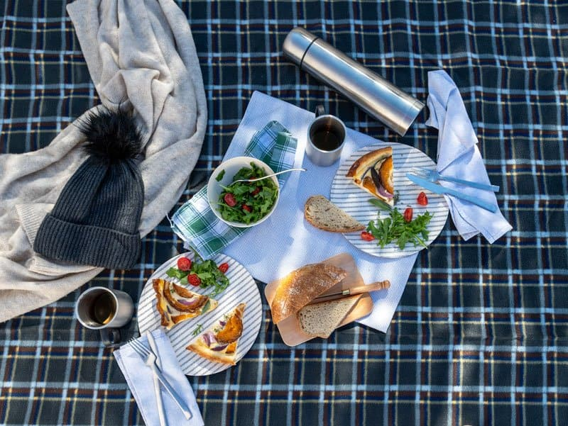60 x 80 Inch Large Size for Outdoor Travel Hiking Picnic Mat Blue Check Good Gain Wool Picnic Blanket,Waterproof Backing with Handle