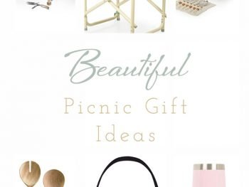"Collage of picnic accessories with text overlay ""beautiful picnic gift ideas""."
