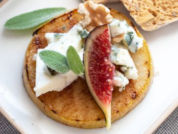 grilled pear appetiser with blue cheese and fig.