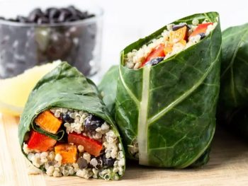 Breadless snadwich wrap with kale and quinoa.