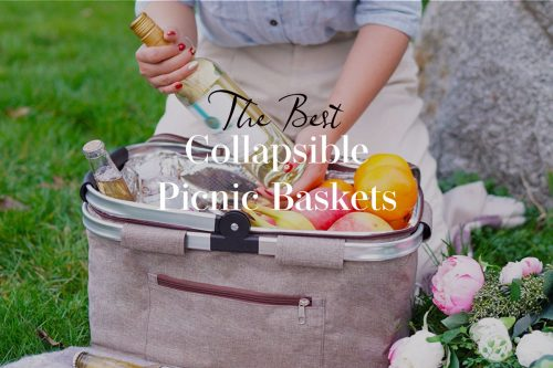 Lady pulling wine from a collapsible picnic basket.