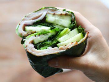 Turkey sandwich wrap using collard greens instead of bread.