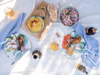 Summer picnic spread with chicken, hummus and coleslaw